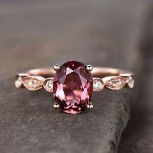 3Ct Oval Cut Tourmaline Simulant Diamond Art Deco Ring Rose Gold Finish Silver