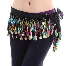 Belly Dance Hip Scarf Belt Sequins Practise Trainning Leaves HipScarf skirt belt