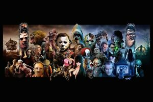 MONSTER MASH - MOVIE CHARACTER COLLAGE - ART POSTER 24x36 - HORROR 52927
