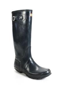 Hunter Womens Pull On Knee High Rain Boots Black Size 9 Medium