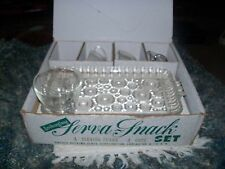 Vintage AnchorGlass Serva Snack Set of Four in Box Circle Patterns