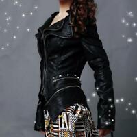 Occident Womens Biker Motor Jacket Coat Ladies Outwear Punk Rivet Zip Gothic New