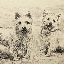 More details for art deco etching west highland terrier dog portrait christine mcgregor #19
