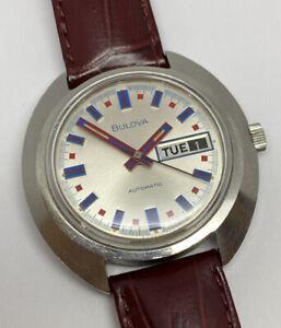Vintage 1972 Bulova Jet Star Automatic Watch Red Blue Fireworks Roulette WORKS!