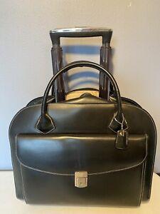 "McKlein DETACHABLE Leather Wheeled Rolling Briefcase Black Laptop Bag 17"" x 15"""
