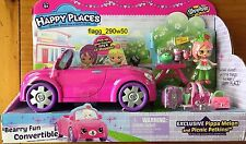 *Shopkins Happy Places* BEARRY FUN CONVERTIBLE PINK CAR PIPPA MELON SHOPPIE DOLL