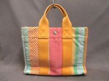 Auth HERMES Fourre Tout Tote PM Yellow Red Multi Cotton, Linen Tote Bag
