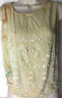 Antique Art Deco Top Vintage Beaded Size S Embroidered Floral Sleeveless Stained