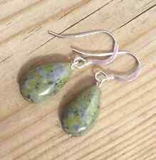 Irish gemstone jewellery gift. Traditional Connemara Marble drop earrings.
