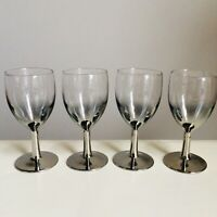 """4 Vintage Silver Fade Glasses Wine Port Sherry Mid Century Modern France 5"""" high"""