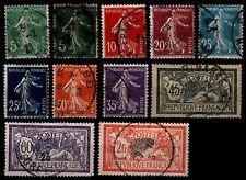 L'ANNÉE 1907, Oblitérés = Cote 8 € / Lot Timbres France 137 à 145