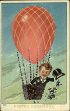 Easter - Boy in Tux in Egg Hot Air Balloon c1910 Postcard #1
