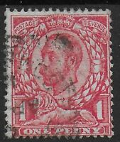 """SG341a. 1d.Bright Scarlet """"No Cross On Crown"""" Variety. FU. Cat.£55. Ref:0/35"""
