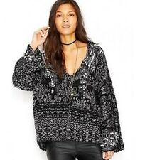 NWT Free People Wool V Neck Hoodie Print Pullover Knit Sweater  XS S Oversized