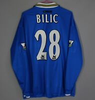 EVERTON 1997 1999 HOME FOOTBALL SHIRT JERSEY LONG SLEEVE UMBRO #28 BILIC SIZE L