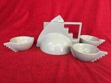 Vintage  Memphis Style Post-Modern Grey Teapot & 3 Cups  Salins Studio France