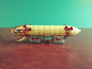 Scarce 1910's Meier Tin Penny Toy Zeppelin Airship Balloon