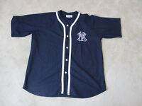 VINTAGE Adidas New York Yankees Baseball Jersey Adult Extra Large Blue SEWN 90s