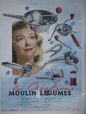 PUBLICITÉ DE PRESSE 1950 LES CRÉATIONS MOULIN LÉGUMES - ADVERTISING