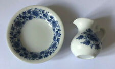 Dolls House size Porcelain Blue and White Floral Jug and Bowl