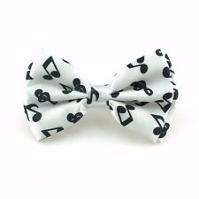 Unisex White and Black Music Musical Note Novelty Bow Tie - Brand New