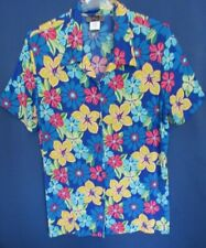 Slinky Brand Knit Travel 2X Button Down Colorful Graphic Floral Top Blouse