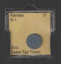KANSAS '2' Zinc Sales Tax Token Catalog # S-1