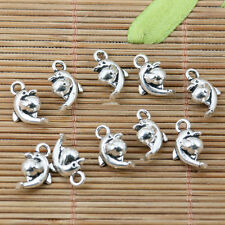 20pcs tibetan silver plated dolphin holding ball  charms EF2215