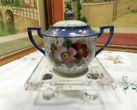"VINTAGE CHIKARAMACHI JAPAN BLUE LUSTER 4 1/2"" FLORAL SUGAR BOWL WITH LID"