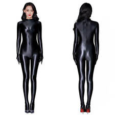 Women Sexy Wet Look Full Bodystocking Shiny Glossy Bodysuit with Gloves Jumpsuit