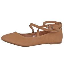 Top Moda Mujer Tiras Bailarinas Zapato Brea-3 Marrón Talla 9