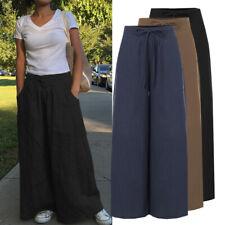 AU Women Plus Size Elastic Waist Pants Long Culotte Drawstring Wide Leg Trousers