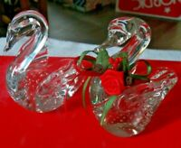 2 Enesco Cute Glass Swans Figurines Both Have Tiny Bubbles on The Inside