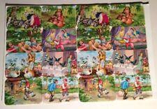 """RARE Vintage  Art  FAIRY TALES  Germany Uncut Cards Nursery Rhymes 9 x 13"""" Sheet"""