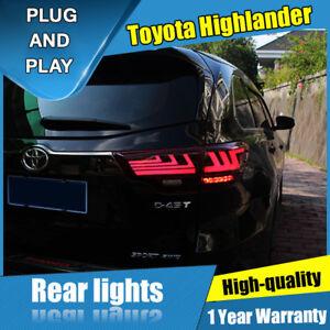 For Toyota Highlander Dark / Red LED Rear Lamps Assembly LED Tail Lights 14-18