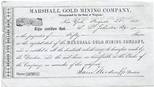 1851, Marshall Gold Mining Company Stock Certificate