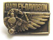 11608 HARLEY DAVIDSON PIN BADGE RECTANGLE BRASS EAGLE WING MOTOR MOTORCYCLE BIKE