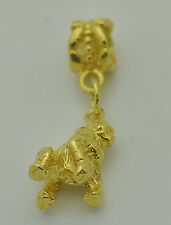 LOOK Sterling silver 925 24kt Gold plated Gorilla Monkey charm jewelry European