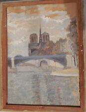 PARIS NOTRE DAME GOUACHE SUR PAPIER ca 1940 signé F ARAEL