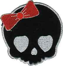 22076 Skull With Red Bow Skeleton Dead Girl Applique Sew Iron On Patch / Badge