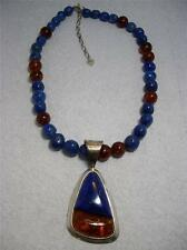 DTR Mine Finds Jay King Sterling Silver Amber & Lapis Pendant Necklace