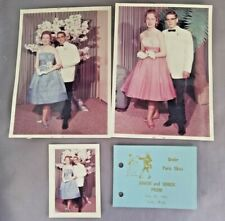 (3) 1960's Prom Photos with Dance Card - Blythfield Country Club - Michigan