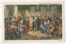 Marriage of Pocahontas to John Rolfe Indian Vintage Colonial America Postcard