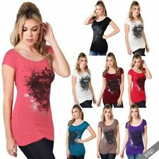 Gothic Hip Length Short Sleeve Tops & Shirts for Women