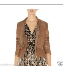 KAREN MILLEN LTD ED BROWN LEATHER Jacket 10 12 WORN ONCE