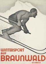 Vintage Ski Posters WINTERSPORT AUF BRAUNWALD, Swiss Art Deco Travel Print