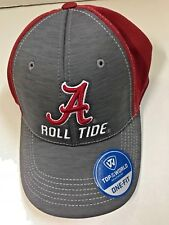 NCAA ALABAMA CRIMSON TIDE TOP OF THE WORLD ONE-FIT HAT RED/GRAY