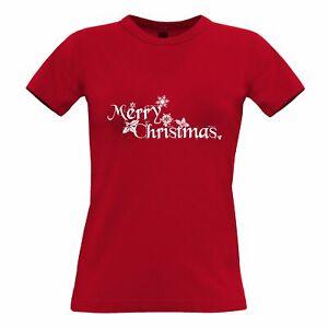 Festive Womens TShirt Merry Christmas Slogan Xmas Santa Festive Holidays Winter