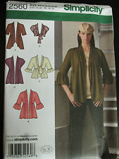 Simplicity Sewing Pattern 2560 Misses knit Cardigans
