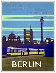 BERLIN Vintage METAL SIGN WALL PLAQUE poster travel print Staycation Lockdown
